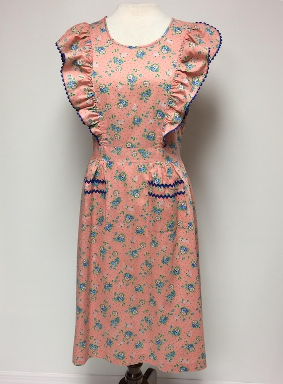1940's Floral Print Cotton Ruffled House Dress Me… - image 3