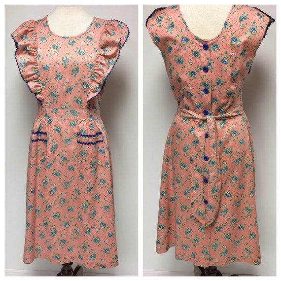 1940's Floral Print Cotton Ruffled House Dress Med