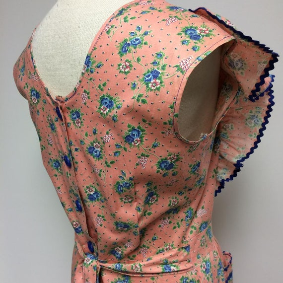 1940's Floral Print Cotton Ruffled House Dress Me… - image 7