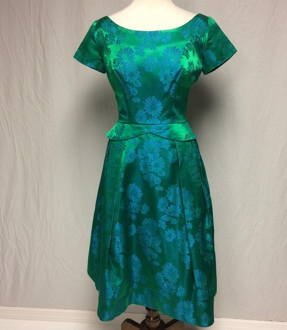 1950's True Vintage RAPPI Green/Blue Satin Damask