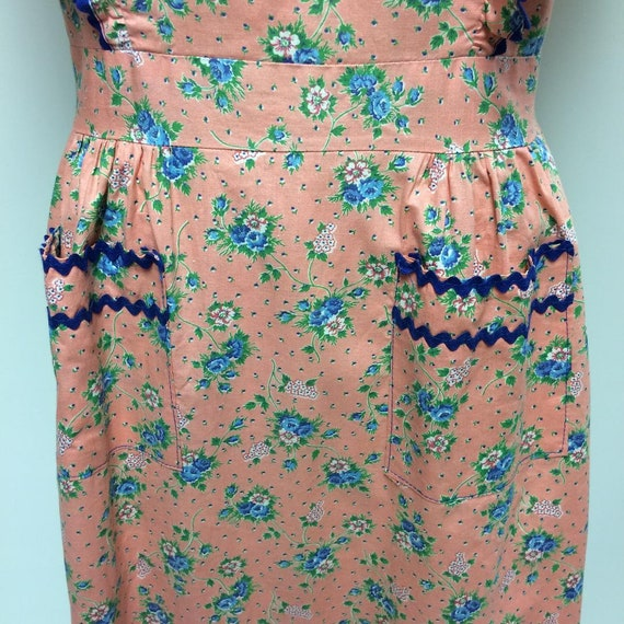 1940's Floral Print Cotton Ruffled House Dress Me… - image 10