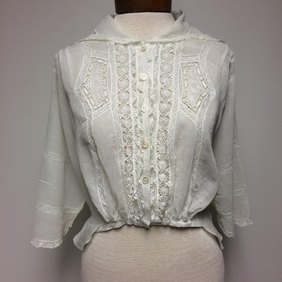 1910's EdwardianWhite Cotton Voile and Lace Blouse
