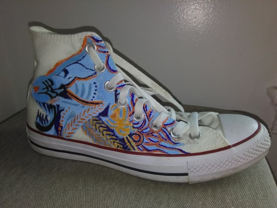 f2585bfcfb6f Tribal tiger custom converse shoes