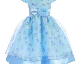 Cap Sleeves Printed Organza Satin Floral Dress