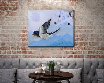 HD canvas print barn swallow oil painting Kids room decor wall art  (No Frame) 16x20inch