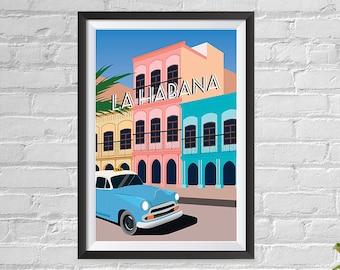 Hot Habana Nights Cuba Havana Vintage Travel Poster Reproduction