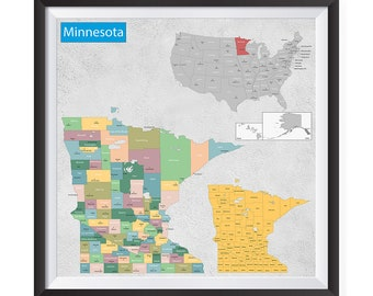 Minnesota wall map | Etsy