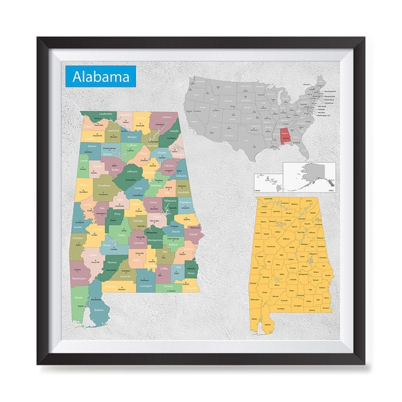 Alabama AL State General Reference Map USA State Map | Etsy