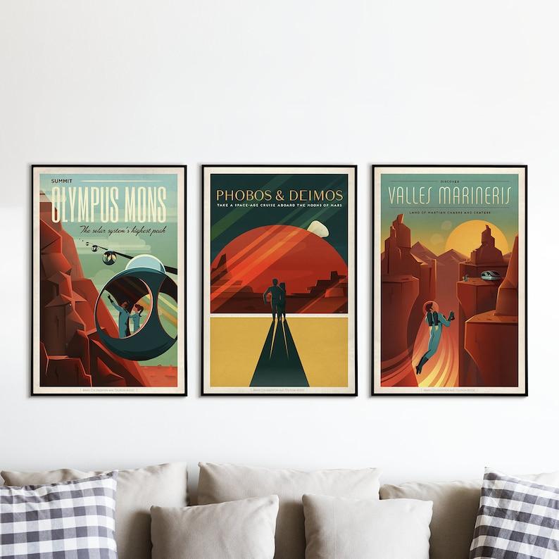 SpaceX Vintage Space Travel Posters SPACEX MARS POSTERS Set image 0