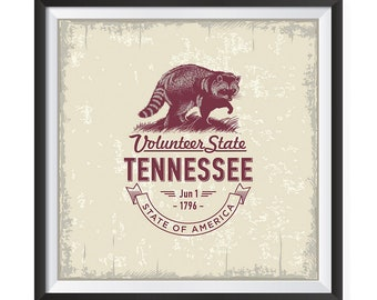 USA State Icon Posters - Poster Printing USA Flags Icons Symbol Wall Posters- Wall Art Print for Home Office Decor - TENNESSEE