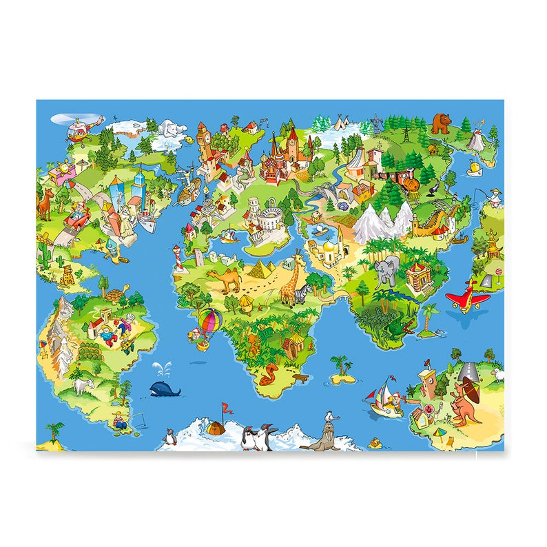 Kids Animals Funny World Map Poster Printing Wall Art | Etsy