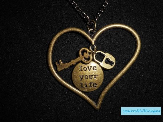 Girl Women Love Heart Long Chain Key Pendant Necklace