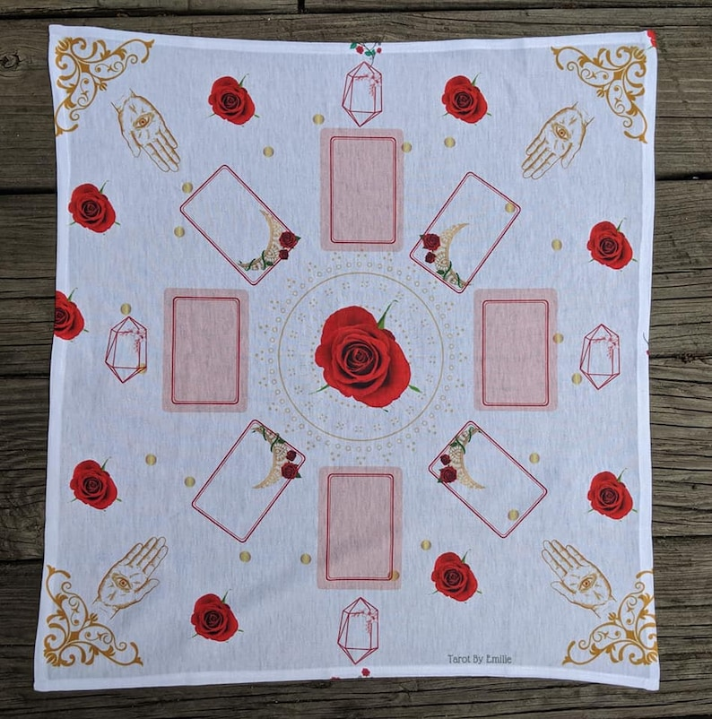 Tarot, oracle, lenormand, Reading Rose Cloth By Emilie * Limited Edition  *WHITE