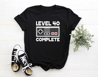 bc839ac2 Level 40 Complete 40th Birthday Gamer Funny Gift Shirt