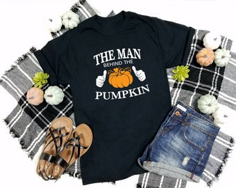 The Man Behind The Pumpkin Shirt New Dad Expectant Father Maternity Pregnancy Baby Announcement Reveal Halloween Gift T-Shirt, new dad shirt