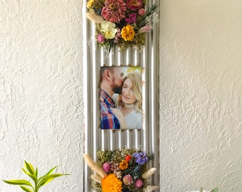 Tin and Dried Flower Frame