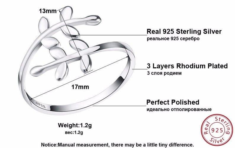 925 sterling silver Olive Leaf Ring Olive Branch adjustable ring Adjustable Rings 925 Sterling Silver rings