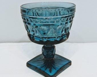 Vintage Indiana Glass Sherbet Set - Teal/Blue