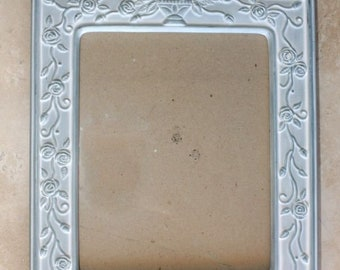 Blue Ceramic Shabby Chic Picture Frame With Easel