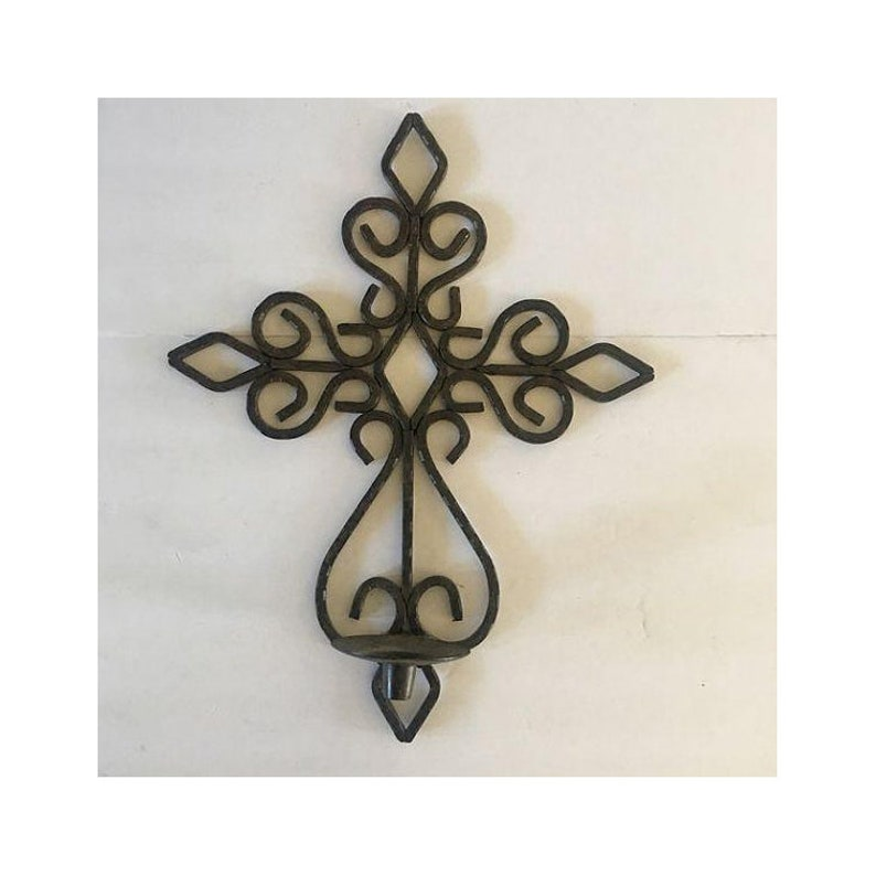 Rustic Wrought Iron Big Black Hammered Cross Wall Decor Candle Etsy