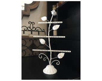 "Shabby Chic/Country French Metal Jewelry Tree/Holder Off-White+Gold 15"" x 9.5"""