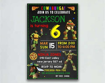 TMNT Invitation Ninja Turtles InvitationTeenage Mutant Birthday Editable PDF TemplateInstant Download