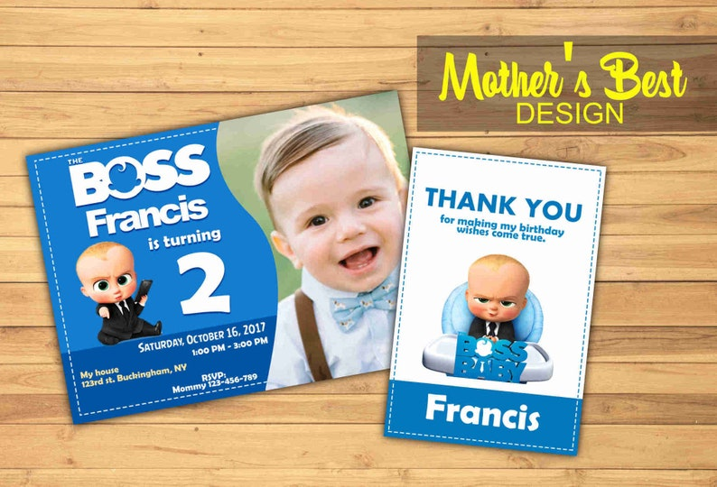 Boss Baby Birthday Invitation Personalized Party