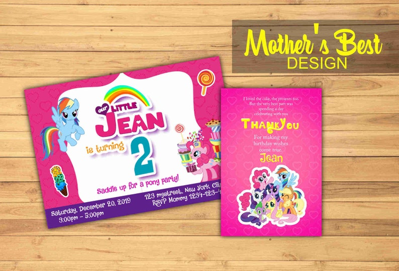 My Little Pony Invitation Card Birthday Party