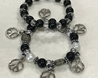 2pc Black/Silver 'Peace' Bracelet set.
