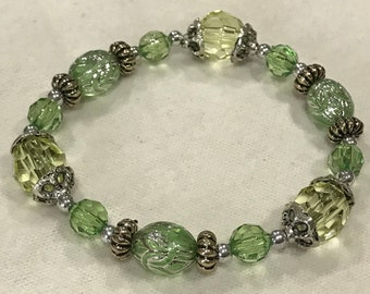 Lime Green and Antique Silver Beaded Bracelet