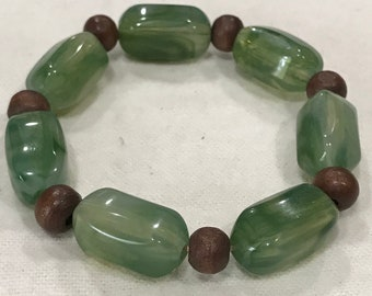 Sage and Brown Beaded Fashion Bracelet