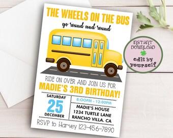 Party Bus Invitation Etsy