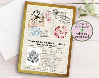 Passport Invitation Template Birthday
