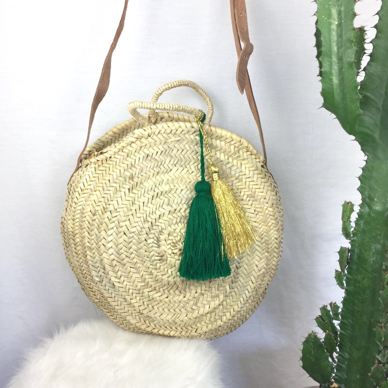 Round basket and 2 large green cactus and gold tassels basket round wicker basket basket Moroccan tassel tassel pendant basket round tassel