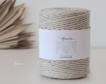 Macramé Cord / Makramee Rope / Cotton Rope / single twisted - 200m 4-5mm 1kg Linen / Beige