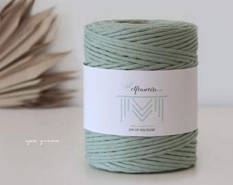 Macramé Cord / Makramee Rope / Cotton Rope / single twisted - 200m 4-5mm 1kg spa green