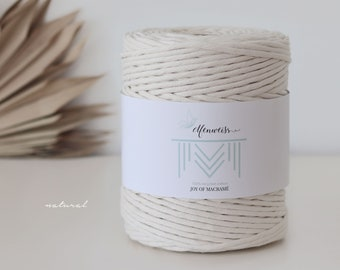 Macramé Cord / Makramee Rope / Cotton Rope / single twisted - 200m 4-5mm 1kg natural