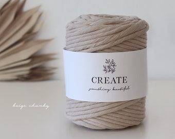 Macramé Cord / Makramee Rope / Cotton Rope / chunky single twisted - 75m 9mm 1kg beige