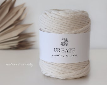 Macramé Cord / Makramee Rope / Cotton Rope / chunky single twisted - 75m 9mm 1kg natural