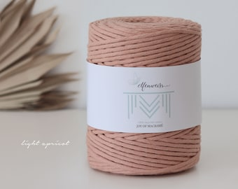 Macramé Cord / Makramee Rope / Cotton Rope / single twisted - 200m 4-5mm 1kg light apricot
