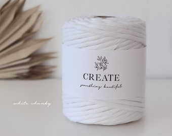 Macramé Cord / Makramee Rope / Cotton Rope / chunky single twisted - 75m 9mm 1kg white