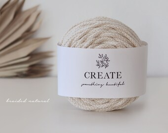 Macramé Cord / Makramee Rope / Cotton Rope / braided - 50m 5mm 0,35kg natural