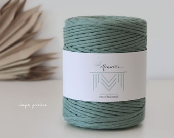 Macramé Cord / Makramee Rope / Cotton Rope / single twisted - 200m 4-5mm 1kg sage green
