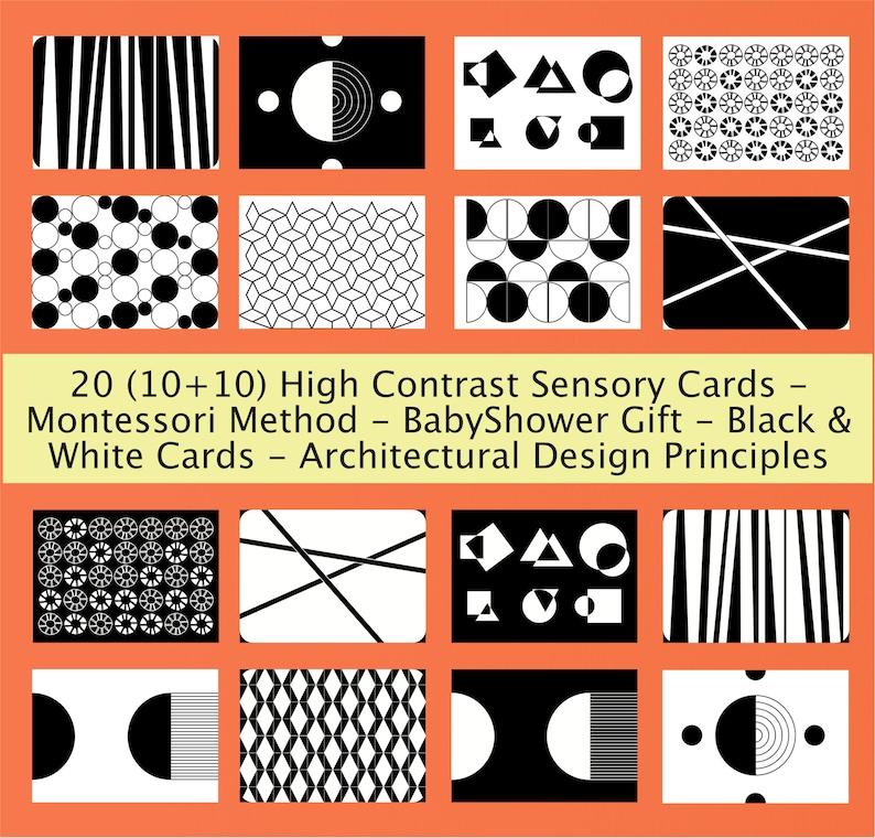 20 High Contrast Sensory Cards- Montessori Method BabyShower Gift Architectural Design Principles Black /& White Cards