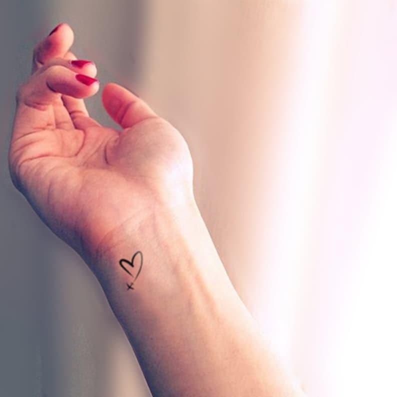 Serce W Niebie Tymczasowy Tatuaż Zestaw 4