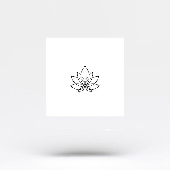 Fine Line Lotus Flower Temporary Tattoo Set Of 4