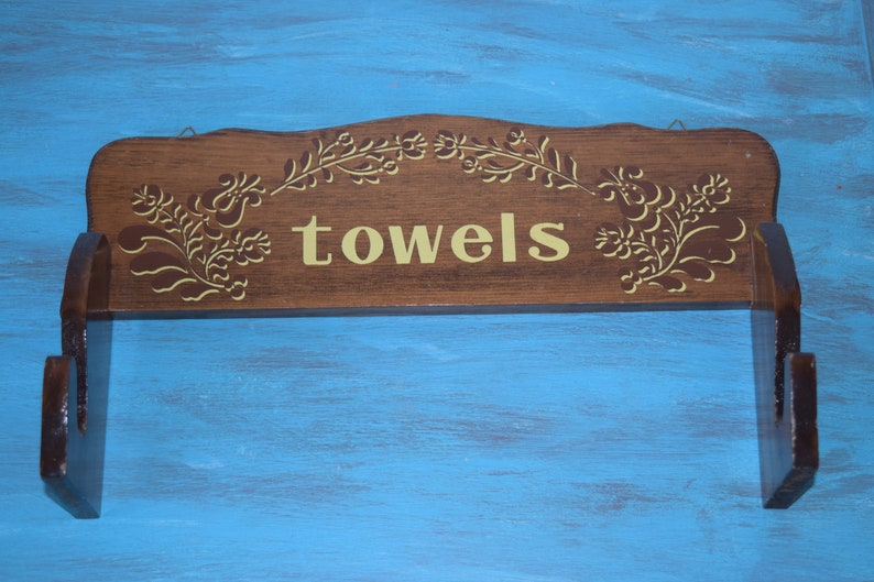 Vintage Wooden Towel Rack