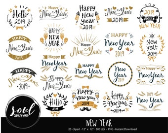 cod447 new year clipart2019 clipartscommercial useclipart setvector clipartinstant download