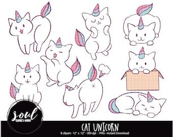 spring pets Cute animals summer Clipart Hand drawn digital cats Goodnotes Cat unicorn Unicorn digital stickers cute cats