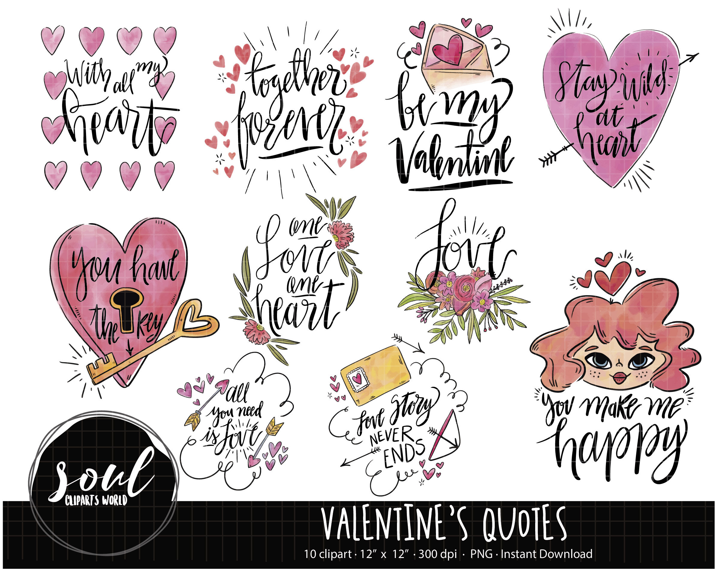 Cod705 Love Quotes Cliparts Velentine Clipart Love You Etsy